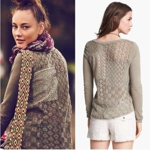 Free People Patches Of Lace Olive Green Top Henley